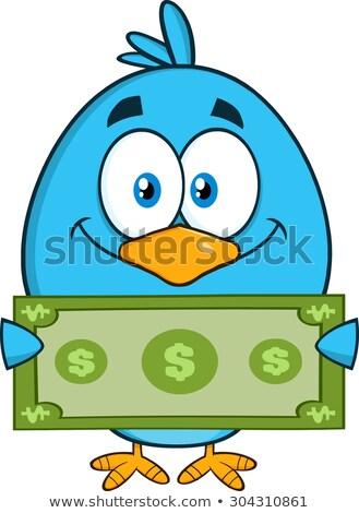 Sorridente azul pássaro dólar Foto stock © hittoon