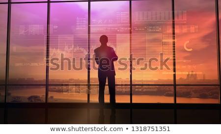 Kereskedő tevékenység tőzsde naplemente nagy iroda Stock fotó © ConceptCafe