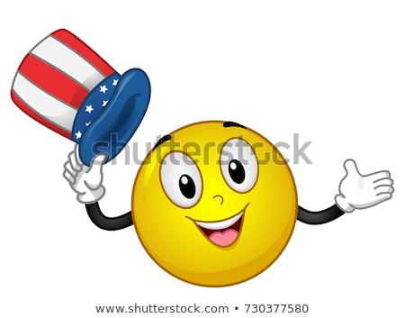 Mascotte americano Hat bandiera illustrazione Foto d'archivio © lenm