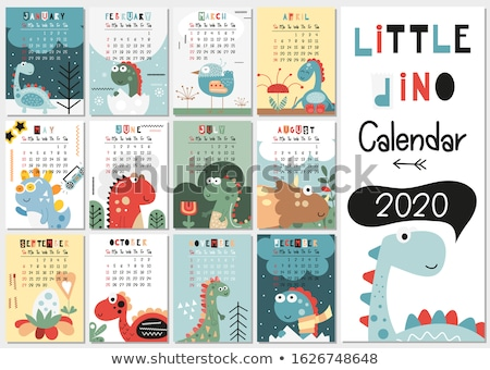 Calender template for July with stegosaurus Stock photo © colematt