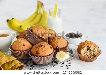 Csokoládé muffinok banán fehér papír csészék Stock fotó © Melnyk