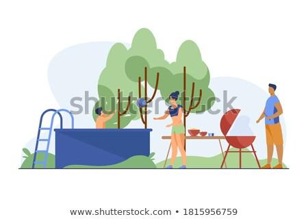料理 キャンプ 着陸 子供 巨大な ストックフォト © RAStudio