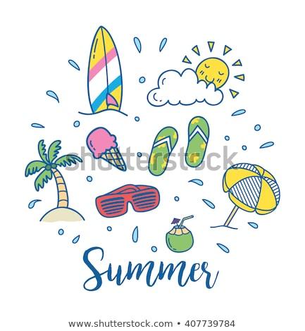 surfing board summer icons set vector illustration stock photo © robuart