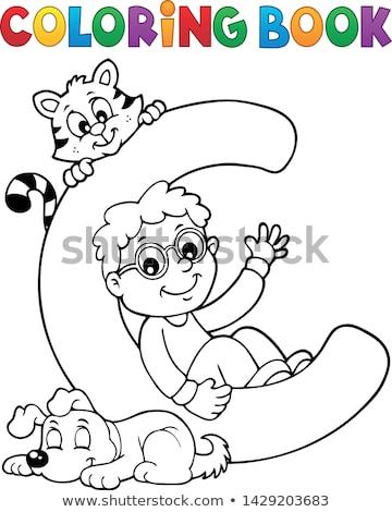 Kifestőkönyv fiú díszállatok c betű könyv gyermek Stock fotó © clairev