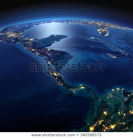 Zdjęcia stock: Szczegółowy · ziemi · noc · kraje · centralny · Ameryki