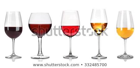 Różny kieliszki do wina drewniany stół czerwona róża biały górę Zdjęcia stock © karandaev