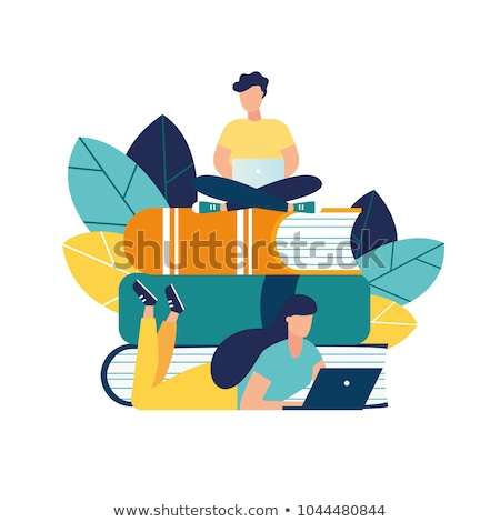 Knowledge Gaining Male, Businessman on Books Vector Stock photo © robuart