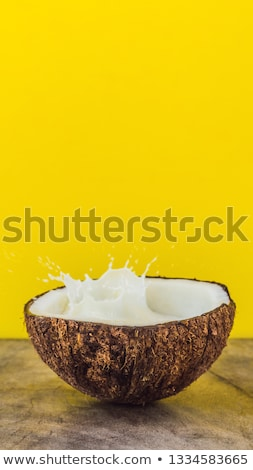 coconut fruit and milk splash inside it on yellow background banner long format stock photo © galitskaya