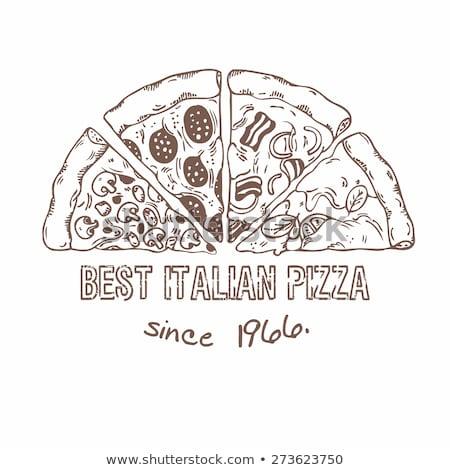 Vegetáriánus olasz szelet pizza monokróm vektor Stock fotó © pikepicture