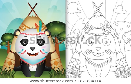 Ancient Aztec Headdress Drawing Color Stock photo © patrimonio