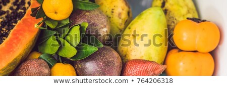 banner long format open refrigerator filled with fresh fruits and vegetable raw food concept heal stock photo © galitskaya