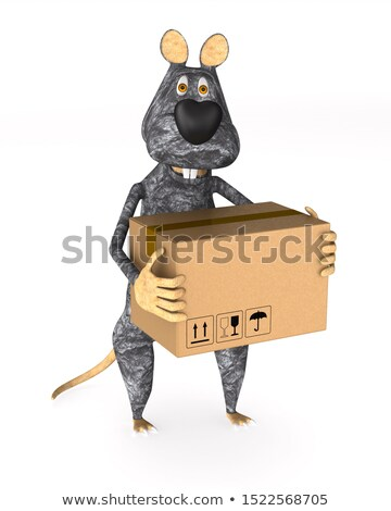 rat with cargo box on white background. Isolated 3d illustration Stock photo © ISerg