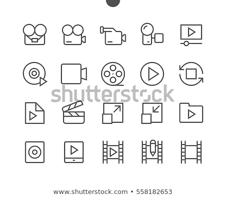 media player line button icon set Stock photo © bspsupanut