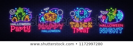 happy halloween party neon sign stock photo © voysla