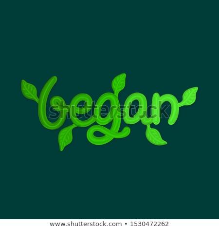 Vegetariano verde hojas título menú volante Foto stock © user_10144511