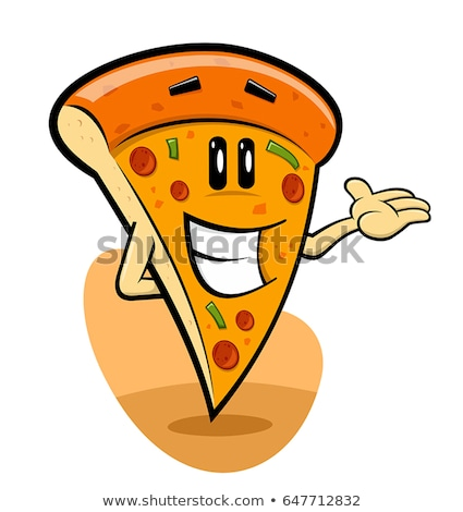Cartoon pizza slice wijzend zwart wit illustratie voedsel Stockfoto © bennerdesign