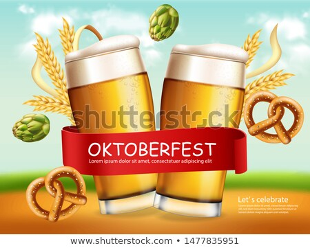 Beer mugs banner October fest Vector realistic. Fresh sparkling beer with pretzel. 3d detailed illus Stock photo © frimufilms
