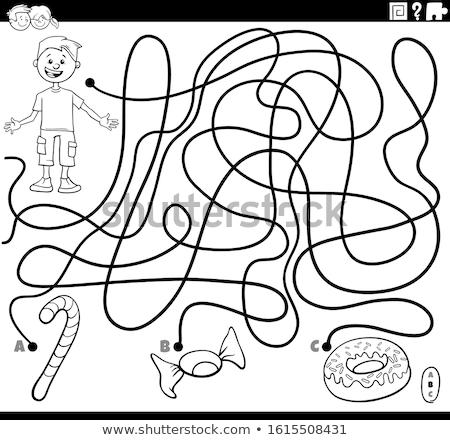 Labirinto jogo menino alimentos doces objetos desenho animado Foto stock © izakowski