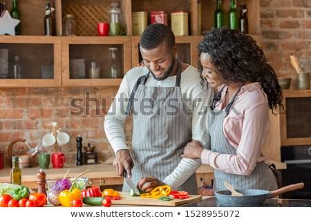 Család szakács étel otthon férj feleség Stock fotó © vkstudio