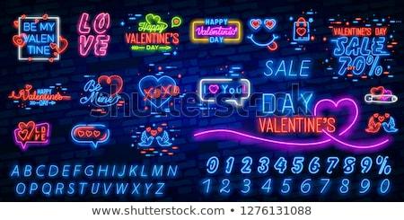 Valentines Day Neon Signboard Stock photo © -TAlex-