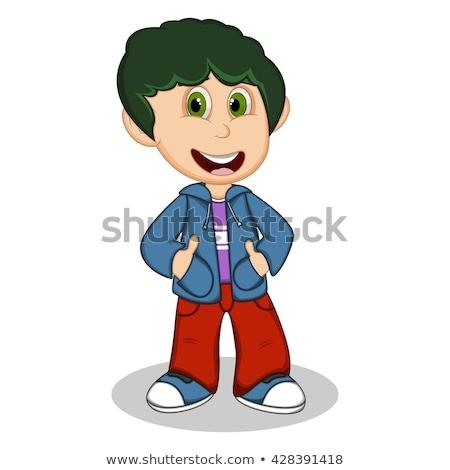 Cute garçon bleu veste rouge Photo stock © bluering