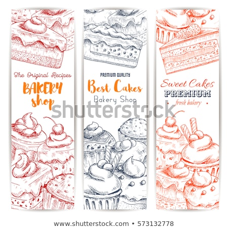 Zoete bakkerij romig bes dessert banner Stockfoto © pikepicture