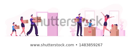 Couple Relocation Man and Woman with Boxes Vector Stock photo © robuart