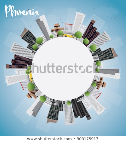 Outline Phoenix Skyline with Blue Buildings and copy space Stock photo © ShustrikS
