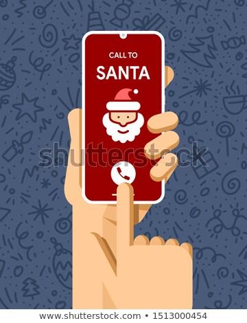 Okostelefon vázlat emberi kéz hívás mikulás vidám Stock fotó © karetniy