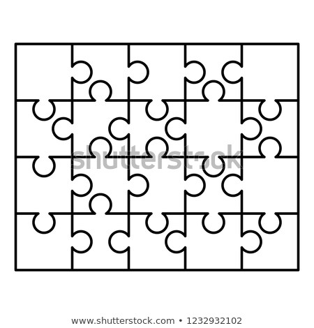 20 white puzzles pieces arranged in a rectangle shape. Jigsaw Puzzle template ready for print. Cutti Stock photo © evgeny89
