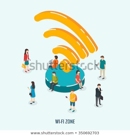 Wifi bağlantı izometrik ikon vektör Stok fotoğraf © pikepicture