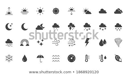 Rain And Hail Cloud And Moon Icon Night Weather Glyph Vector Illustration Stok fotoğraf © Nadiinko