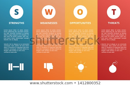 Foto stock: Swot Analysis Strength Weakness Opportunity And Threat Words