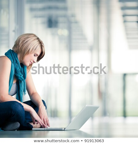 High school teenage girl with cute smile blue eyes Stock photo © darrinhenry