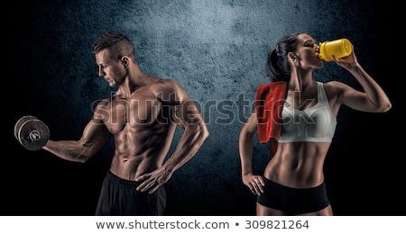 jóképű · testépítő · égbolt · szexi · sport · modell - stock fotó © konradbak