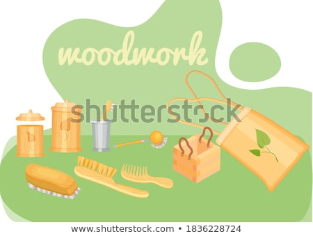 Single brush with green wood handle Stock photo © boroda