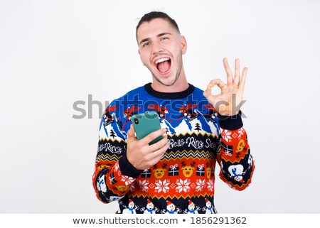 Espressiva uomo telefono cellulare bianco segno business Foto d'archivio © photography33