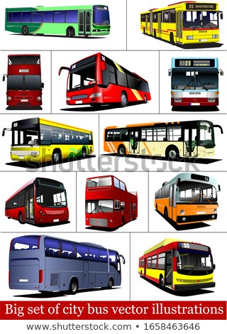 Big set of City buses. Tourist coach. Vector illustration for de Stock photo © leonido