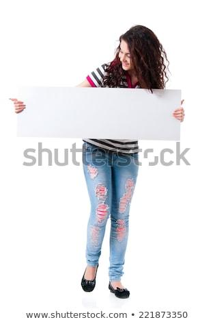 Fiatal üzletasszony gesztikulál óriásplakát portré aranyos Stock fotó © williv
