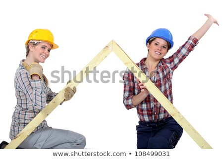Peppy tradeswomen holding up a wooden frame Stock photo © photography33