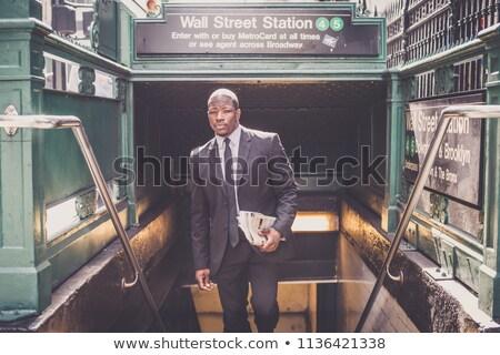 Wall street stazione ingresso metropolitana segno Manhattan Foto d'archivio © chrisbradshaw