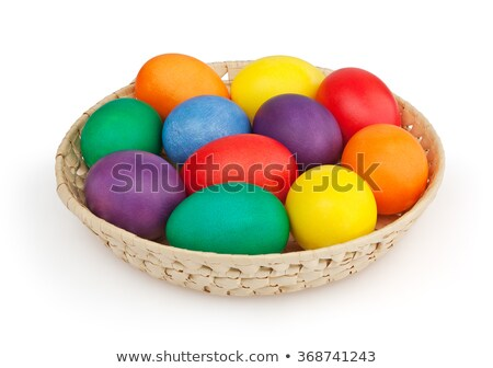 Easter eggs on plate Stock photo © kawing921