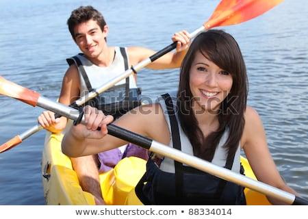 Adolescente kayak feliz paisaje mar fitness Foto stock © photography33