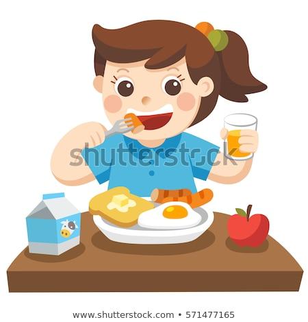 piękna · dziewczynka · jedzenie · śniadanie · kuchnia · domu - zdjęcia stock © photography33