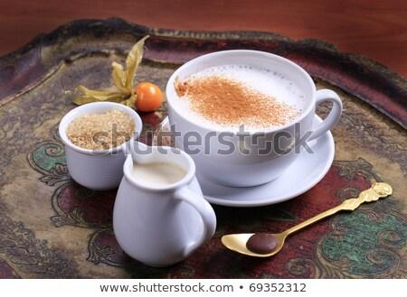 Kawy biały porcelana kubek taca tle Zdjęcia stock © elly_l