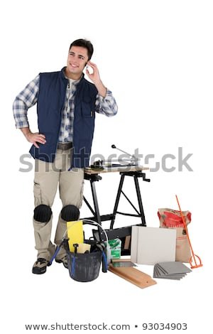 Handlowiec mówić telefonu komórkowego budowy telefon komórkowych Zdjęcia stock © photography33