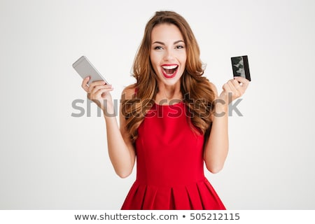 jovem · feliz · mulher · silêncio · assinar - foto stock © rosipro