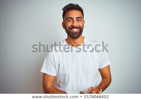 portré · jóképű · indiai · fiatalember · szürke · mosoly - stock fotó © ziprashantzi