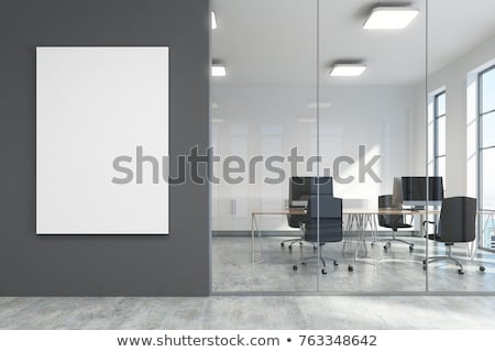 White Vertical Billboard on a Dark Grey Background stock photo © maxpro