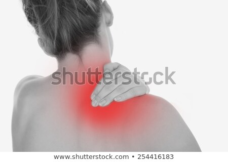 Zdjęcia stock: Rear View Of Topless Young Woman With Shoulder Pain